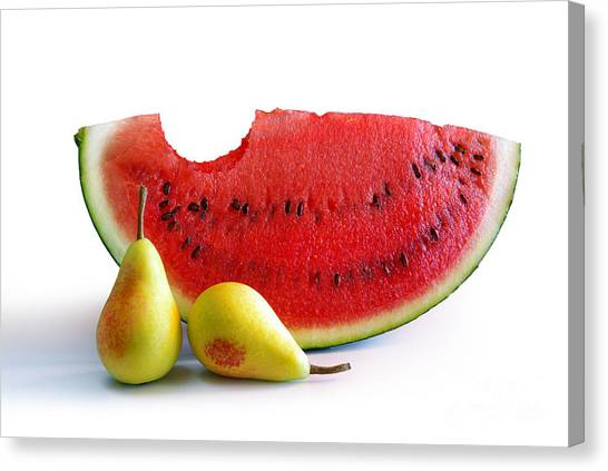 Watermelons Canvas Print - Watermelon And Pears by Carlos Caetano