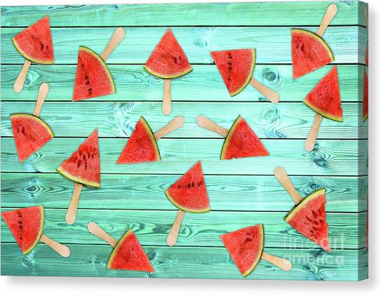 Melons Canvas Print - Watermelon Popsicles On Blue by Delphimages Photo Creations
