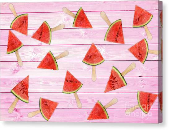 Melons Canvas Print - Watermelon Popsicles On Pink by Delphimages Photo Creations