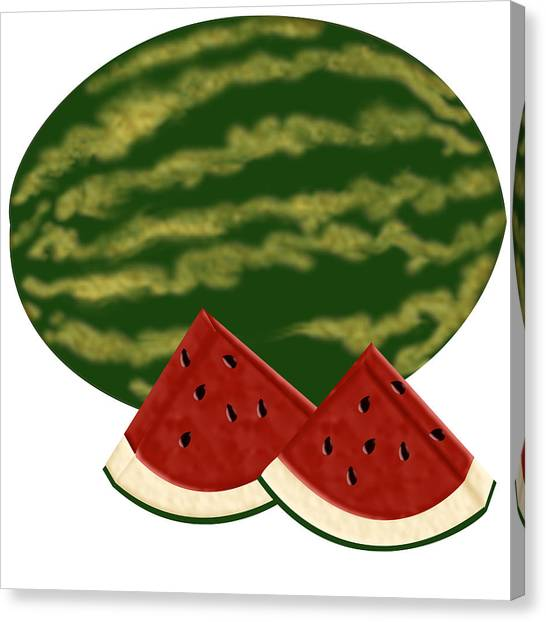 Watermelon Time Canvas Print by Melissa Stinson-Borg