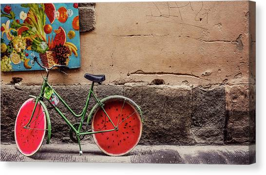 Watermelons Canvas Print - Watermelon Wheels by Happy Home Artistry