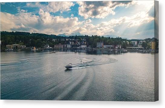 Water Skis Canvas Print - Waterskiing In Velden Am Worthersee by Chris Thodd