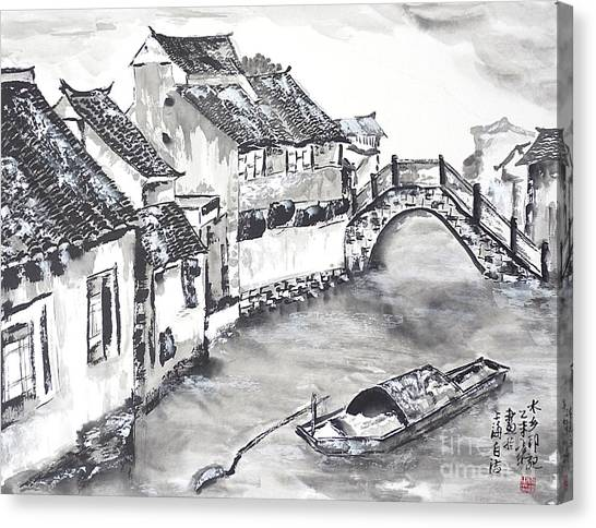 China Town Canvas Print - Watertown In China by Birgit Moldenhauer
