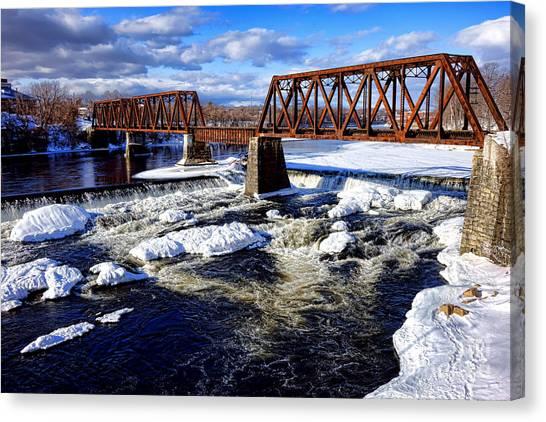 Snow Bank Canvas Print - Waterville Maine Central Railroad Bridge by Olivier Le Queinec