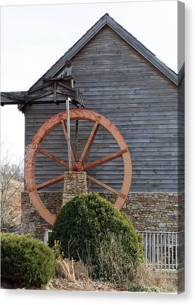 Waterwheel Of Old Canvas Print by Linda A Waterhouse