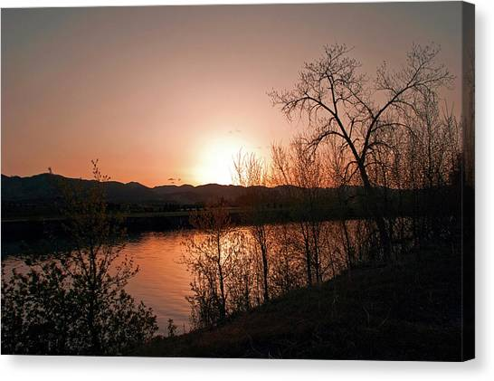 Watson Lake At Sunset Canvas Print by James Steele