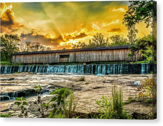 Canvas Print featuring the photograph Watson Mill Covered Bridge by Michael Sussman