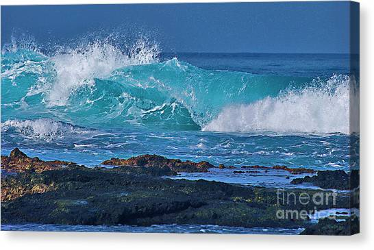 Wave Breaking On Lava Rock Canvas Print