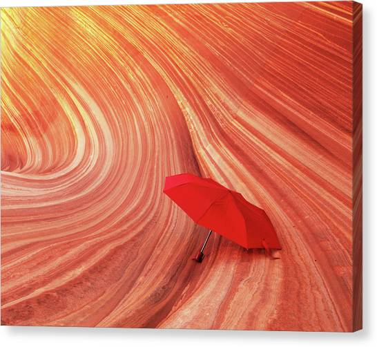 Canvas Print featuring the photograph Wave Umbrella by Norman Hall