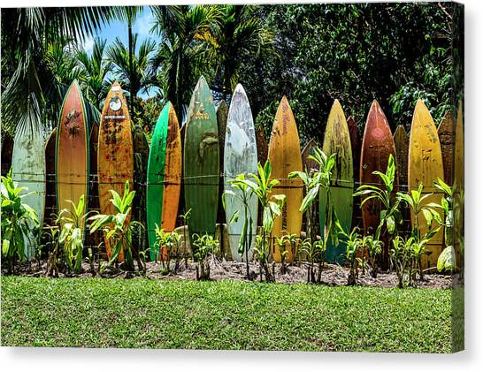 Surfboard Fence Canvas Print - Waveless by Kelley King