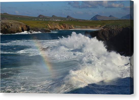 Waves And Rainbow At Clogher Canvas Print