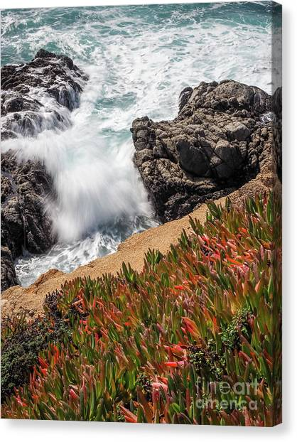 Waves And Rocks At Soberanes Point, California 30296 Canvas Print