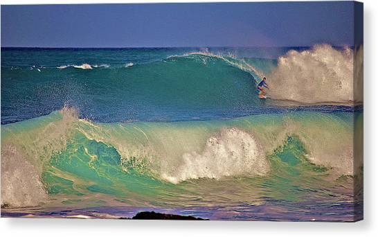 Waves And Surfer In Morning Light 2 Canvas Print