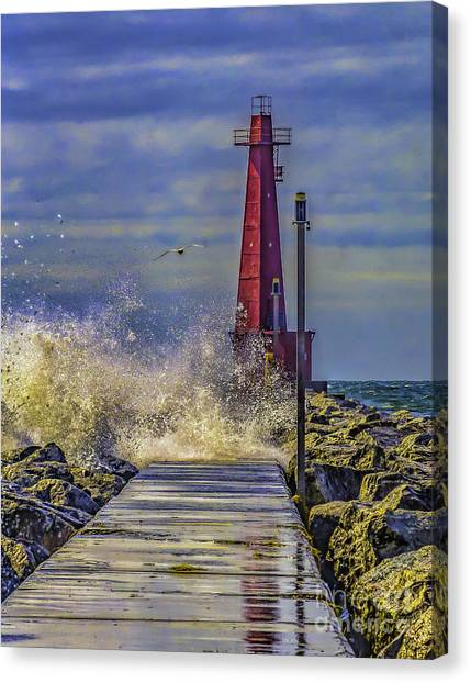 Waves At Muskegon South Breakwater Canvas Print