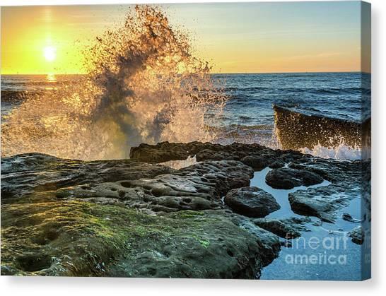Waves At Sunset Cliffs Canvas Print