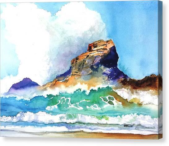 Bodega Canvas Print - Waves Bursting On Rocks by Carlin Blahnik CarlinArtWatercolor