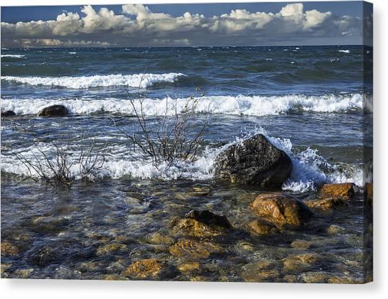 Waves Crashing Ashore At Northport Point On Lake Michigan Canvas Print
