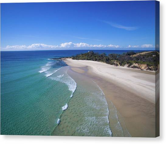 Waves Rolling In To North Point Beach On Moreton Island Canvas Print