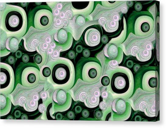 Waves Seashells Foam And Stones In Green Canvas Print by Jacqueline Migell
