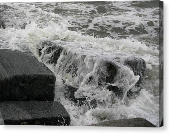 Waves Splashing Stones 2 Canvas Print