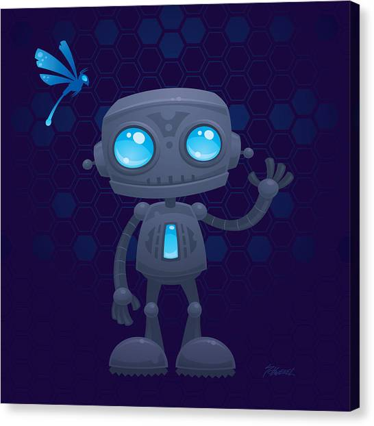 Droid Canvas Print - Waving Robot by John Schwegel