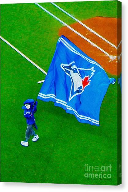 Toronto Blue Jays Canvas Print - Waving The Flag For The Home Team      The Toronto Blue Jays by Nina Silver