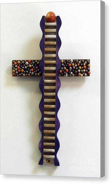 Wavy Cross With Beads Canvas Print