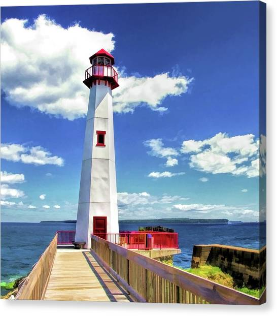 Canvas Print featuring the painting Wawatam Lighthouse by Christopher Arndt