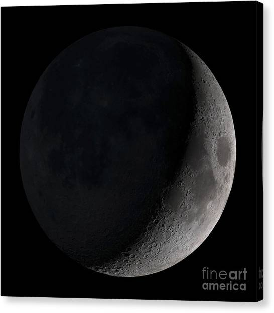 Satellite Canvas Print - Waxing Crescent Moon by Stocktrek Images