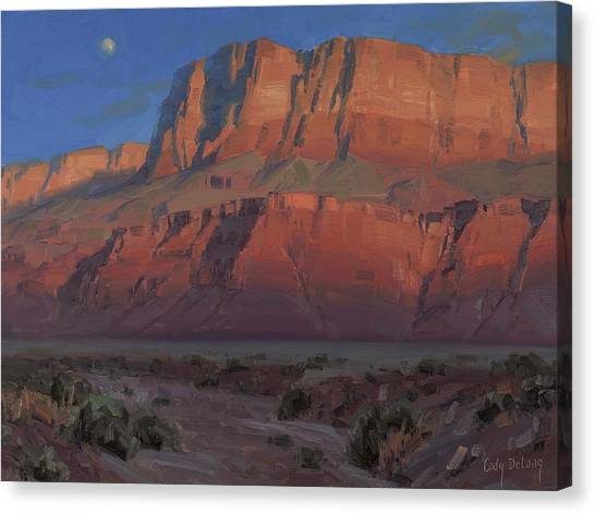 Red Rock Canvas Print - Waxing Moon by Cody DeLong