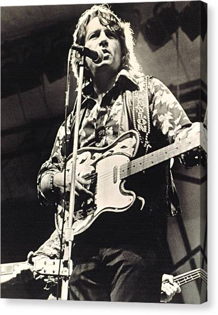 Music Stand Canvas Print - Waylon Jennings In Concert, C. 1974 by Everett