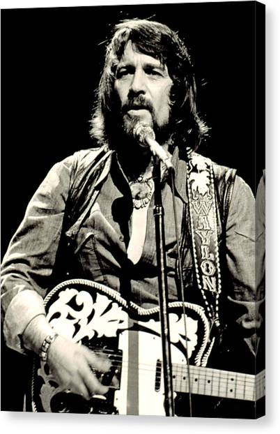 Electric Guitars Canvas Print - Waylon Jennings In Concert, C. 1976 by Everett