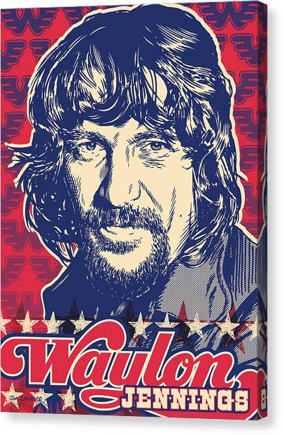 Nashville Canvas Print - Waylon Jennings Pop Art by Jim Zahniser