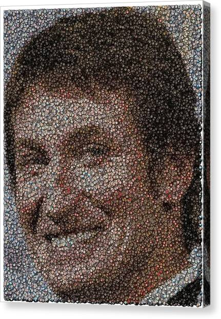 Wayne Gretzky Canvas Print - Wayne Gretzky Hockey Puck Mosaic by Paul Van Scott
