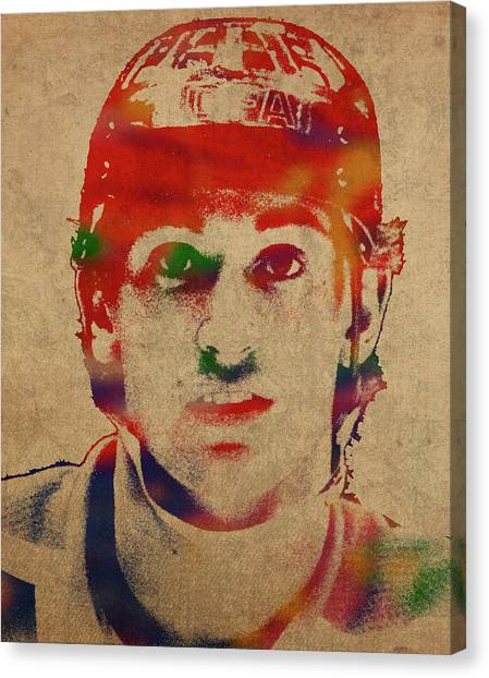 Hockey Players Canvas Print - Wayne Gretzky Watercolor Portrait by Design Turnpike