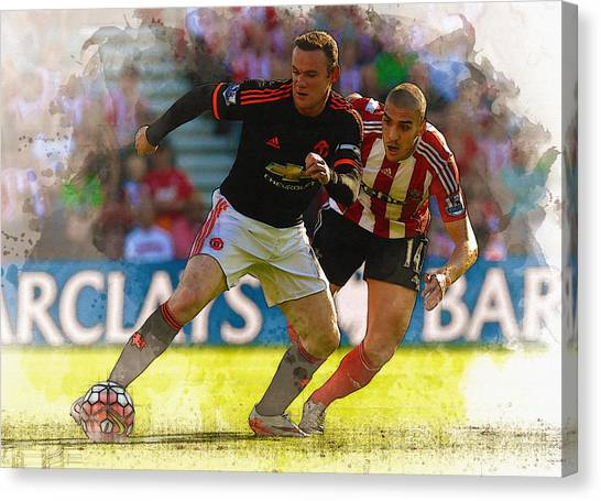 Zlatan Ibrahimovic Canvas Print - Wayne Rooney Is Marshalled by Don Kuing