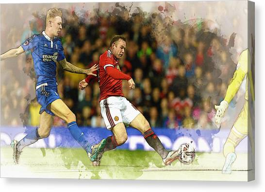 Zlatan Ibrahimovic Canvas Print - Wayne Rooney Of Manchester United Scores by Don Kuing