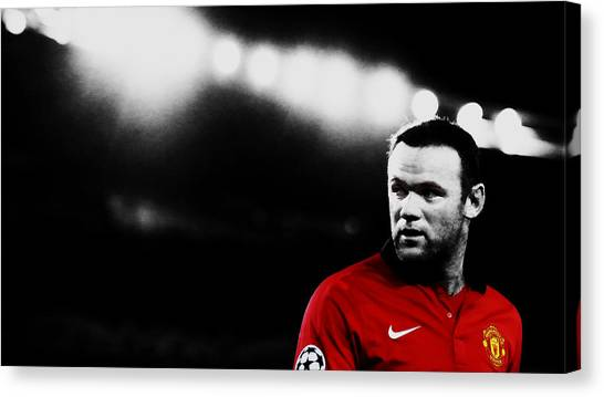 Wayne Rooney Canvas Print - Wayne Rooney Ready To Strike by Brian Reaves