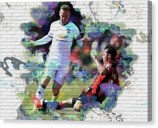 Zlatan Ibrahimovic Canvas Print - Wayne Rooney Street Art by Don Kuing
