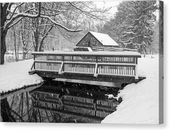 Sudbury Ma Canvas Print - Wayside Inn Grist Mill Covered In Snow Bridge Reflection Black And White by Toby McGuire
