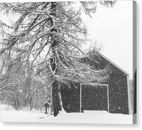 Sudbury Ma Canvas Print - Wayside Inn Red Barn Covered In Snow Storm Reflection Black And White by Toby McGuire
