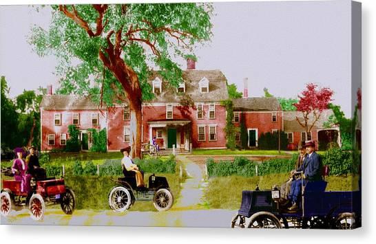 Wayside Inn With Autos Canvas Print