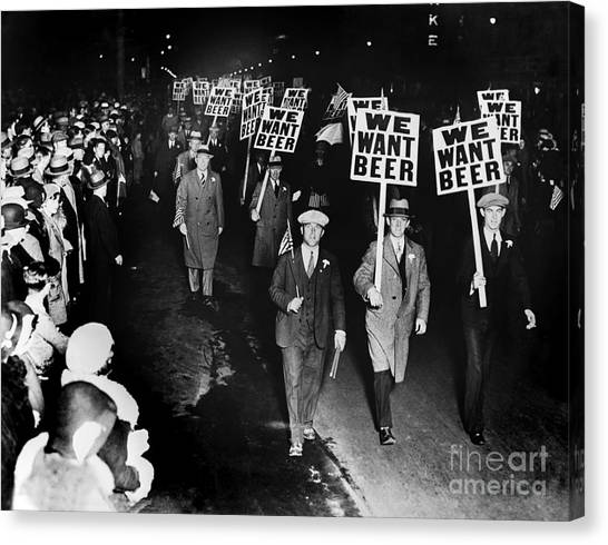 Police Canvas Print - We Want Beer by Jon Neidert