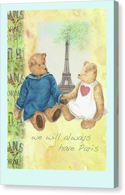 Canvas Print featuring the painting We Will Always Have Paris Whimsical Bears by Judith Cheng