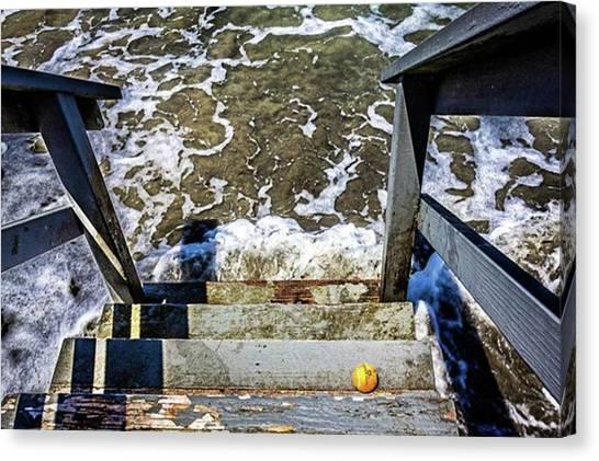 Tennis Ball Canvas Print - Orange Ball On Steps To Beach by Randy Bayne