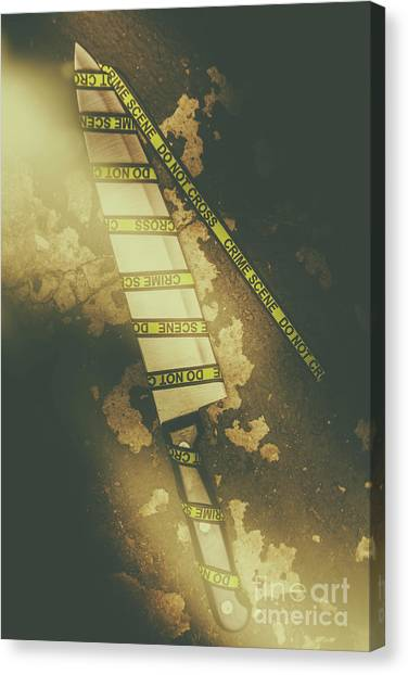 Police Canvas Print - Weapon Wrapped In Yellow Crime Scene Ribbon by Jorgo Photography - Wall Art Gallery