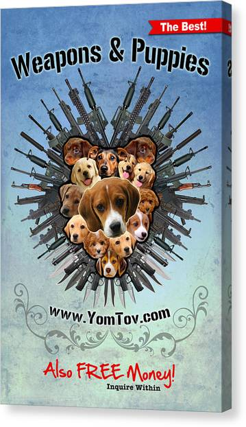 Weapons And Puppies Canvas Print