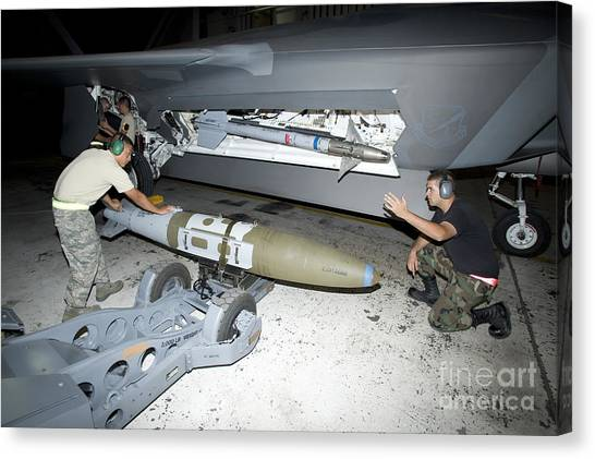 Warheads Canvas Print - Weapons Loaders Load A Gbu-32 Jdam by HIGH-G Productions