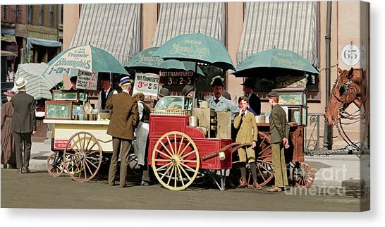 Hotdogs Canvas Print - Wear Youngs Hats At Frankfurter Hot Dog Stands 3 Cents Each 20170707 Colorized by Wingsdomain Art and Photography