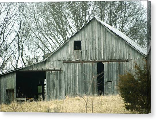 Weathered Barn In Winter Canvas Print